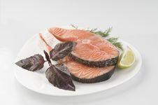 Raw Salmon Steak With Herbs Stock Photos