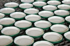 Tin Covers For Canned Food. Stock Image