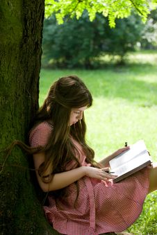Free Girl Studying In The Park Royalty Free Stock Photography - 19874507