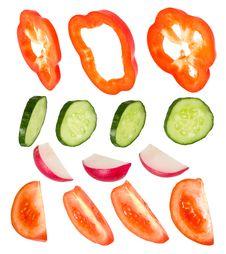 Free Clipart Pepper, Cucumber, Garden Radish, Tomato Stock Image - 19874581