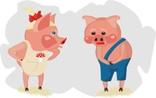 Free Little Piglets Are Quarrelling Royalty Free Stock Photography - 19874697