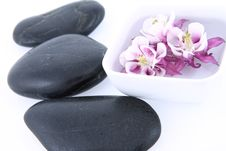 Spa Stones And Floating Flower Royalty Free Stock Image