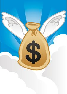 Bag Of Money With Wings Royalty Free Stock Photography