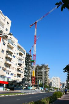 Construction Site And Crane Royalty Free Stock Photo