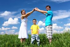 Family With Children In Summer Day Outdoors Royalty Free Stock Photos