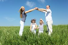 Family With Children In Summer Day Outdoors Royalty Free Stock Images