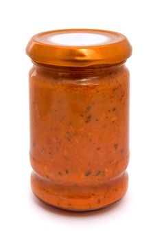Free Gass Jar Of Tomato Sauce Stock Photography - 19879462