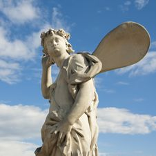 Free Ancient Sculpture Angel In The Blue Sky. Royalty Free Stock Images - 19879539