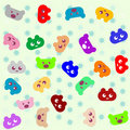 Free Smile Colored Cartoon Animals Background Royalty Free Stock Photo - 19880295