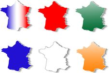 Free Form Of France Stickers Set Stock Photos - 19880573