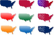 Free Form Of Usa Stickers Set Royalty Free Stock Photography - 19880587