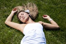 Free Beautiful Young Woman On Field In Summer Stock Photos - 19880643