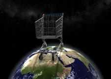 Free Huge Shopping Cart On Earth Royalty Free Stock Image - 19881026