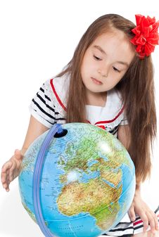 Girl With Globe Stock Photos
