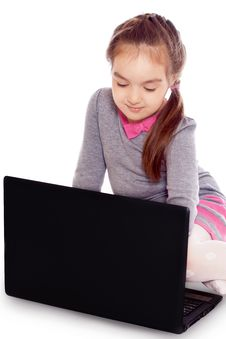 Free Girl With A Computer Royalty Free Stock Images - 19881349