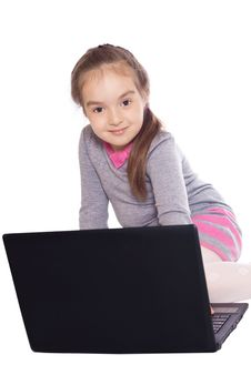Free Girl With A Computer Royalty Free Stock Image - 19881376