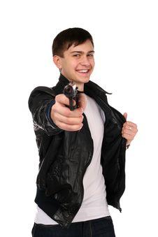 Young Man With Gun. Stock Photo