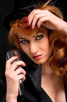 Gorgeous Redhead Singer Royalty Free Stock Image