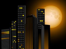 Free Night Skyline And Full Moon Royalty Free Stock Photo - 19884305