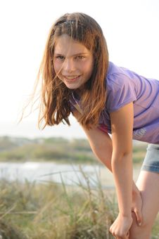 Free Young Girl Posing At The Beach Stock Photography - 19884502