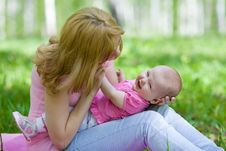 Free Mother And Daughter In Birch Spring Park Royalty Free Stock Photo - 19884745