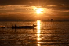 Free Fishermen Boat In Sunset Stock Photos - 19884863