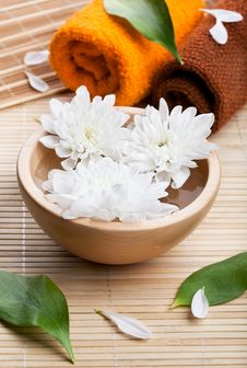 Towels And White Daisies In Bow Stock Images