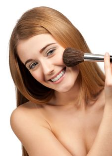 Free Pretty Young Woman With Brush For Makeup Royalty Free Stock Photos - 19886228