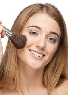 Free Pretty Young Woman With Brush For Makeup Stock Photography - 19886232