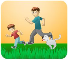 Free Play With Dad And The Dog Stock Images - 19887074
