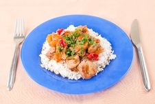Grilled Meat With Vegetables And Rice Stock Photo