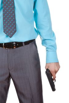 Free Business Man Hold Gun Royalty Free Stock Photography - 19887477