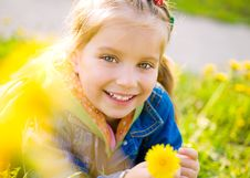 Free Cute Little Girl  On The Meadow Royalty Free Stock Photo - 19887865