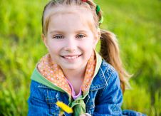 Free Cute Little Girl  On The Meadow Royalty Free Stock Photo - 19887875