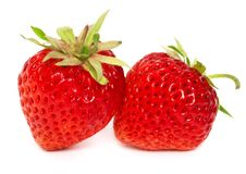 Two Ripe Strawberries Stock Images
