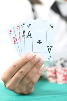 Free Female Hand Hold The Poker Cards Stock Photos - 19889753