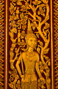 Free Native Thai Sculpture On Wooden Door Stock Photos - 19890413