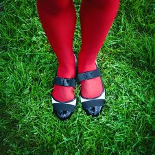 Free Female Legs On A Grass Stock Images - 19890794