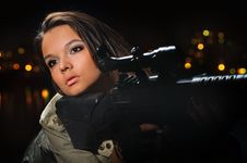 Free Army Girl In Night Lights Stock Images - 19891544