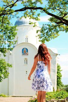 Free Girl Walking Towards An Orthodox Church Stock Photos - 19891663