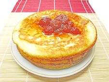 Free Three Pancakes With Strawberry Jam Stock Images - 19892194