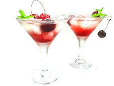 Free Alcohol Liqueur Cocktail With Cherry Stock Image - 19892791
