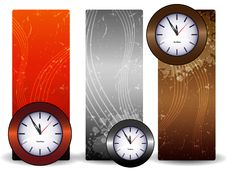 Three Banners With Clock Stock Photos