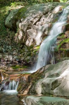 Free Waterfall Along Mountain Stream Royalty Free Stock Photo - 19894775