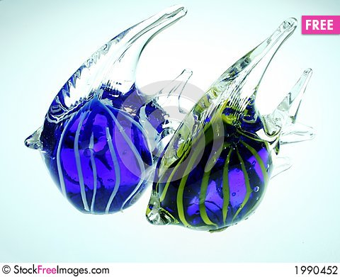 Two Glowing Colorful Blown Glass Angel Fish Free Stock