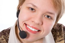 Free Beauty Smile Girl Operator With Headphones Royalty Free Stock Photo - 1992175