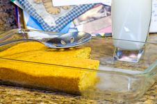 Free Fresh-baked, Golden Cornbread And Milk Royalty Free Stock Images - 1994469
