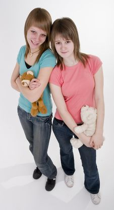 Free Two Teen Girls With Bears Stock Image - 1996211