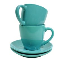 Free Two Blue Cups With Saucer Over White Background Stock Photos - 1997673