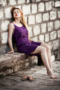 Free Blond Sensual Woman And Old Ancient Wall Stock Photography - 19907032